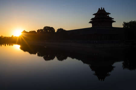 Watchtower of Forbidden City at sunrise  Stock Photo