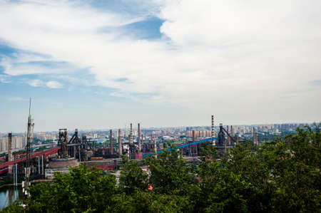 steel works: Panoramic view of a abandoned steel works in Beijing Stock Photo