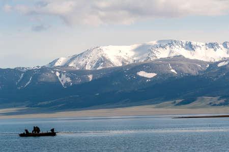 A fishing boat in Sailimu lake, Xinjiang Stock Photo