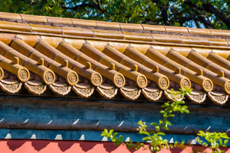 traditinal: Traditinal Chinese red wall support a roof of royal-yellow tiles