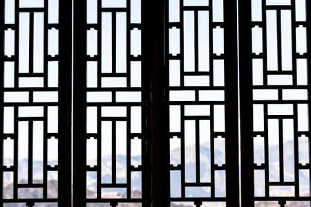 Chinese style doors and windows Stock Photo