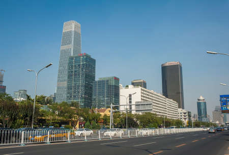 Chanan street in Beijing, the skyscrapers is China World Trade Center, the center of CBD