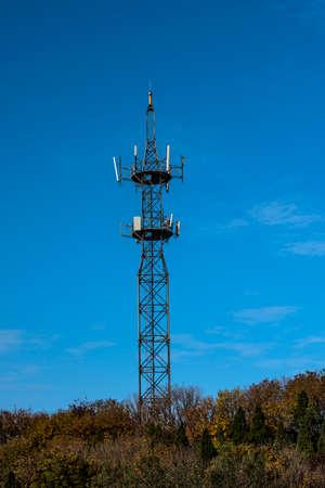 communication tower: Communication tower on the mountain Stock Photo
