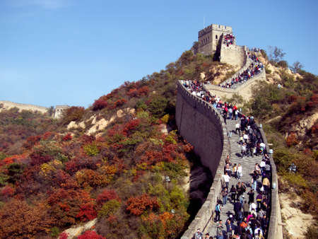 miracle leaf: Beijing,China-October 16,2010: Crowd tourist visit BaDaLing Great Wall in autumn Editorial