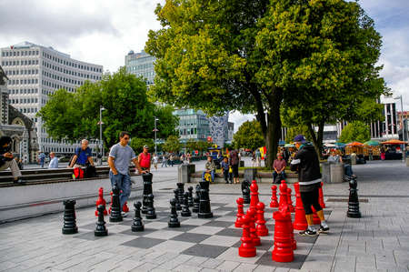 Christchurch,New Zealand-February 2,2008:Two man play the chess at the city square