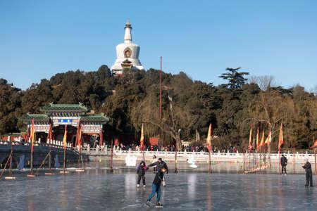 BEIJING, CHINA-January 7, 2016: Pepole skating on the ice of Beihai park