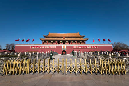 BEIJING, CHINA-January 7, 2016: Two soldiers standing in front of Tiananmen Tower
