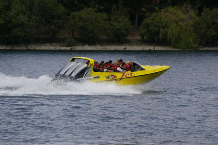 The motorboat driving on the lake, New Zealand