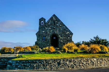 The small church at Tekapo lake, New Zealand Stock Photo