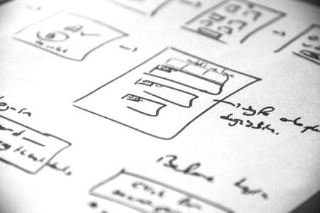 Web layout sketch book paper, mobile and web sketch.