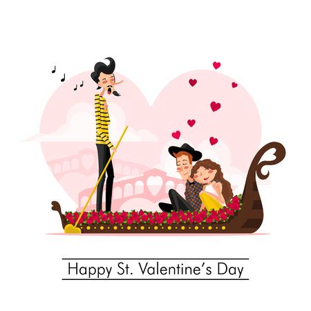 enamorados caricatura: Feliz D�a de San Valent�n Vectores