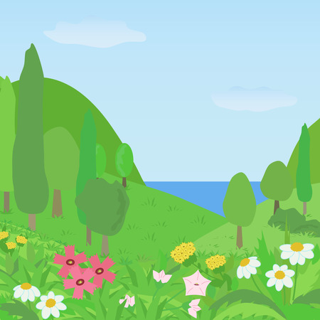 Bright summer landscape with flowers in the foreground and the green hills with trees in the background. Vector illustration