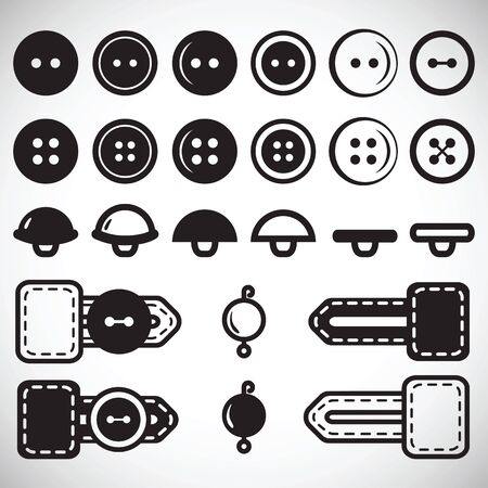 Vector set of isolated icons of buttons in flat style in full face and profile. Button in the loop, loop clothing, beads. Illustration