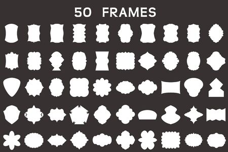 business card template: Set of 50 blank frames. Illustration