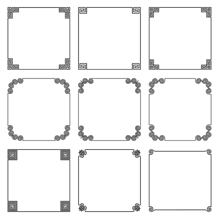 Collection of simple square frame with elements of national ornament in the Greek style, isolated on white texture.
