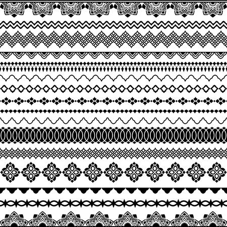 Brosses sans soudure de vecteur pour les cadres, les diviseurs, les frontières. Style oriental classique pour décorer la carte de voeux de conception de texte