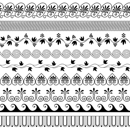 Set of brushes to create the Greek Meander patterns.Greek traditional borders. Decoration elements in black color isolated on white background. Could be used as divider, frame, etc. Vector illustration