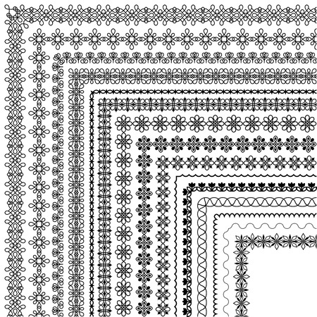Vector brush set with modern and classic patterns, floral motifs to create borders, dividing and decoration of text. Line art frames for invitations, birthday and greeting cards, certificate. The brush included in the file