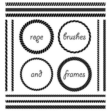 Set of round vector frames from nautical rope isolated on white background. Collection of thick and thin brushes to design frames, borders and divider simulating a braided rope. The brush included in the file