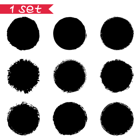 1 vector set of round black stickers ink blots isolates on white background. To design labels, price tags, logos