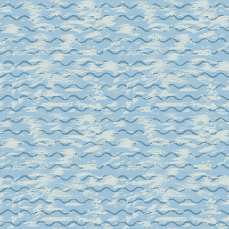 Vector sea background with blue waves and brush strokes of paint hand-painted with acrylic ink. For design creative background, textile printing, paper