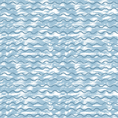 Vector sea background with blue waves and white strokes of paint hand-painted with acrylic ink. For design creative background, textile printing, paper