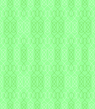Seamless pattern in green and white with interwoven elements. Vector illustration Illustration