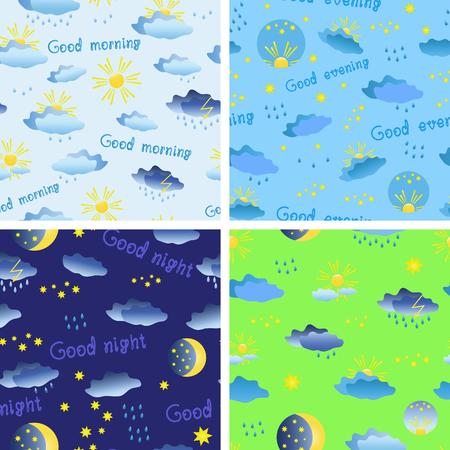 雨、太陽、雲と星と天気をテーマとしたシームレスなパターンのセットします。ベクトル図
