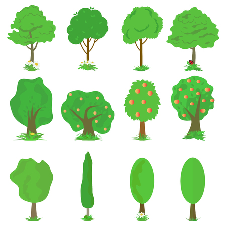 ladybug: Collection of green trees Illustration