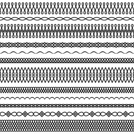 Vector set of wide and narrow brushes in a linear style with a round interlacing and drop elements to create frames, borders and boarders, decorations, textiles, cards, invitations