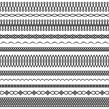 Vektorsatz breite und schmale Bürsten in einer linearen Art mit einem runden Interlacing und Tropfenelementen, um Rahmen, Grenzen und Internatsschüler, Dekorationen, Gewebe, Karten, Einladungen zu schaffen Standard-Bild - 87733997