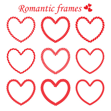 Set of romantic frames of twisted rope frames in heart shaped for Valentines day. Illustration