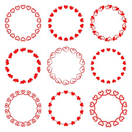 Set of romantic round frames with hearts for decorating greeting cards and wedding invitations.