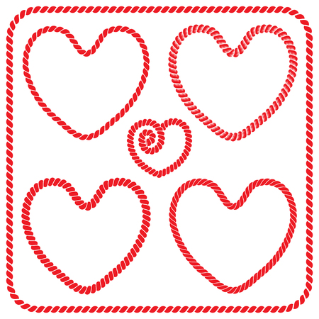 Set of twisted rope frames and square frames heart shaped. Illustration