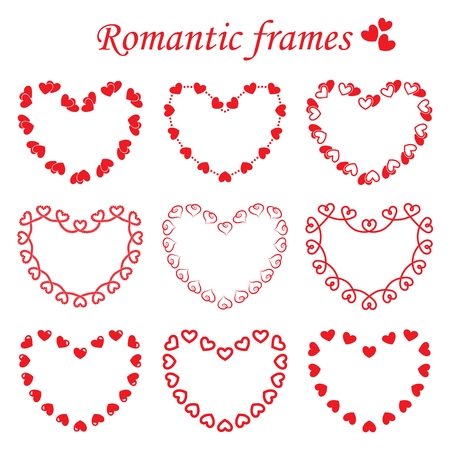 Set of different frames in heart shape, consisting of single and double hearts.