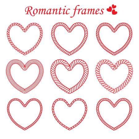 Set of twisted rope frames heart shaped for Valentines day. Illustration