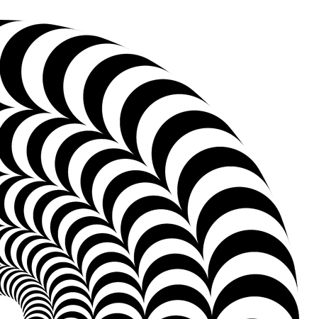 Optical illusion of volume. Vector isolated black and white pattern on a white background. A quarter of a circle of black and white alternating strips, nested into each other.