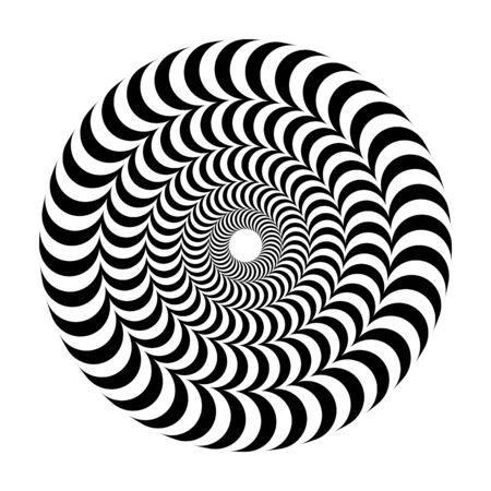 Optical illusion of volume. Round vector isolated black and white pattern on a white background. Circles of black and white alternating strips, nested into each other.