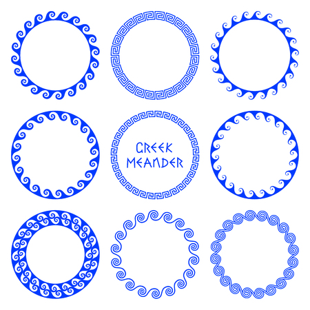 A Vector set of round frames in Greek style with elements of sea waves isolated on white background. Traditional retro ethnic ornament of greece for design and decoration of text, plates. Folk wavy mediterranean pattern
