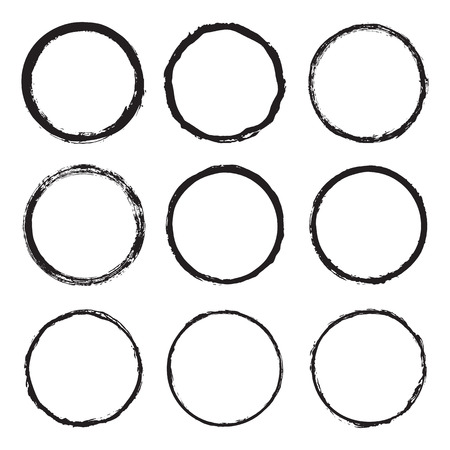 Vector Set Of Round Frames And Borders, Painted With An Ink Brush ...