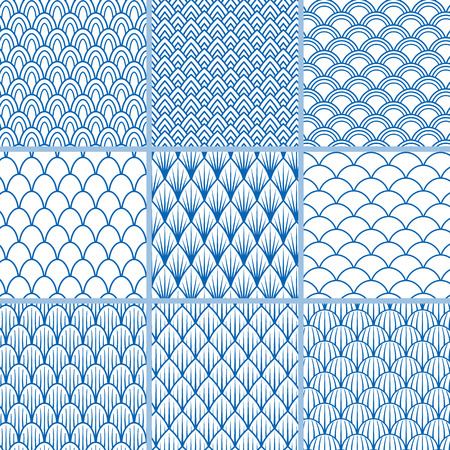 Set of vector seamless backgrounds from fish scales in blue and white. A collection of simple vintage samples of the endless patterns in sea style for design and decoration wrapping, printing 일러스트