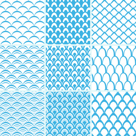 Vector set of seamless patterns of fish scales. Collection of endless simple backgrounds in blue and white. 일러스트