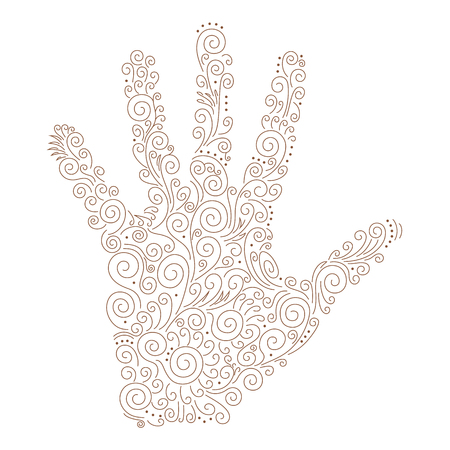 Vector illustration of a silhouette of a human palm. Pattern, isolated on background. Indian traditional pattern of henna. Floral ornament in a linear eastern style. File of 2 layers - fill and stroke 일러스트