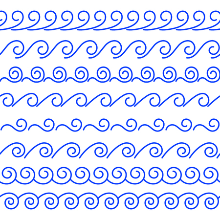 Vector set of seamless linear brushes. Abstract decorative wave of blue color on a white background. A collection of endless sea-style dividers from spirals and curls to create edgings and frames