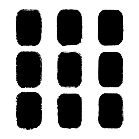 Vector set of rectangular stickers, labels painted with an ink brush. Black grunge frame with rough edges isolated on white background.A collection of uneven dirty silhouettes