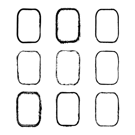 Vector set of rectangular frames and borders, painted with an ink brush. Black grunge frame with rough edges isolated on white background. A collection of uneven dirty silhouettes
