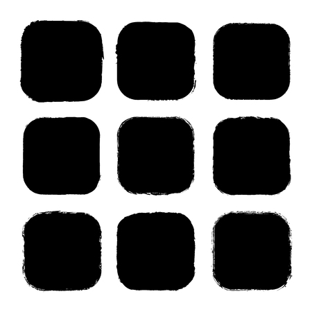 Vector set of square stickers, labels painted with an ink brush. Black grunge frame with rough edges isolated on white background.A collection of uneven dirty silhouettes