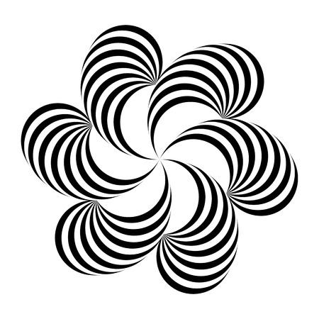 Illustrazione vettoriale. Illusione ottica del volume. Semplice motivo floreale geometrico di bande di torsione nere, bianche, isolate su sfondo bianco. Per la decorazione, design in uno stile minimalista futuristico Vettoriali