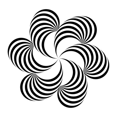 Vector illustration. Optical illusion of volume. Geometric simple floral pattern of black, white twisting bands, isolated on white background. For decoration, design in a futuristic minimalist style Ilustração Vetorial