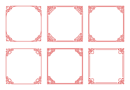 Vector set of square red frames with hearts, flourishes, curls in vintage art deco style. Elegant ornament for decoration, design of wedding invitations, romantic greeting cards for Valentines Day